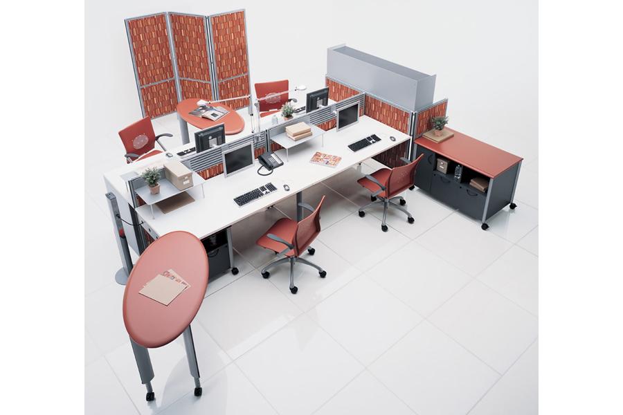 Estaciones de trabajo escritorios con mamparas modulos for Muebles de oficina queretaro