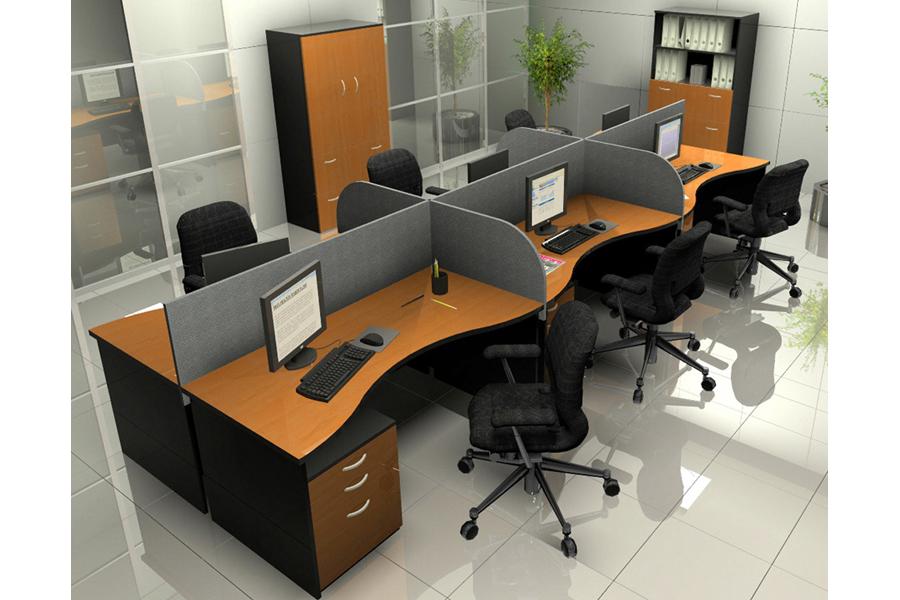 Estaciones de trabajo tipo panel escritorios modulares for Muebles de oficina concepto