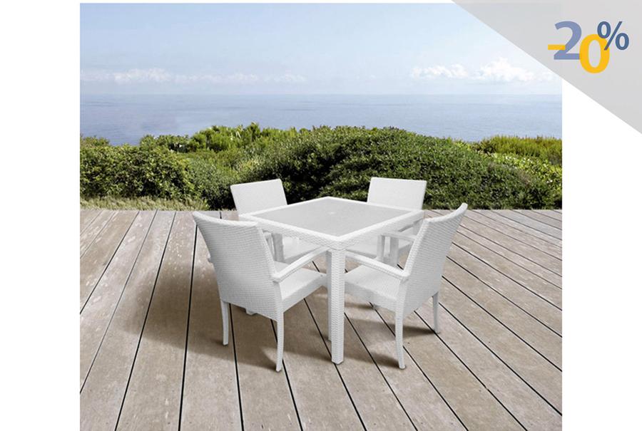 Antecomedor Tuscany 4 sillas blanco